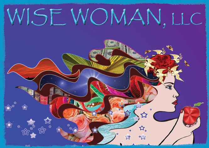 Logo for Wise Woman, LLC and Tamera Harrell, whos purpose is symbolically represented in the wavy strands of the goddess' hair. She is holding the apple of knowledge.
