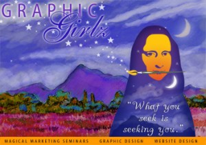Graphic Girlz Logo and Post Card Design Self Marketing