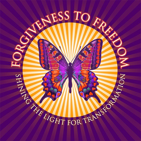 logo for Forgiveness to Freedom Shining the Light for Transformation by Julia Stege of Magical Marketing
