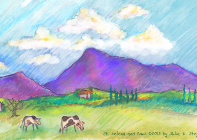 St Helena And Cows by Julia D. Stege